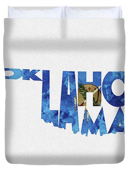 Oklahoma Typographic Map Flag Duvet Cover