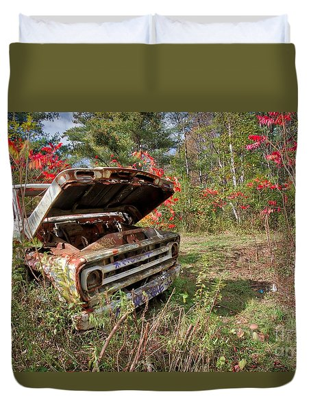 Duvet Cover featuring the photograph Old Abandoned Truck Newport New Hampshire by Edward Fielding