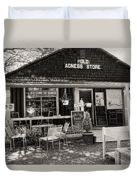 Duvet Cover featuring the photograph Old Agness Store by Hugh Smith
