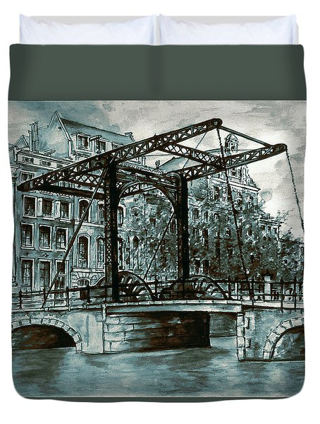 Old Amsterdam Bridge In Dutch Blue Water Colors Duvet Cover