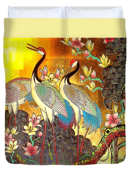 Old Ancient Chinese Screen Painting - Cranes Duvet Cover