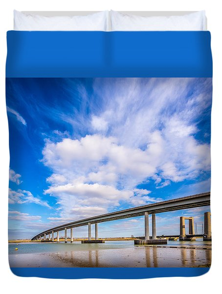 Duvet Cover featuring the photograph Old And New Bridges by Gary Gillette