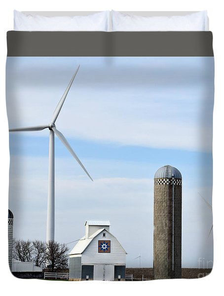 Old And New Farm Site Duvet Cover by Kathy M Krause
