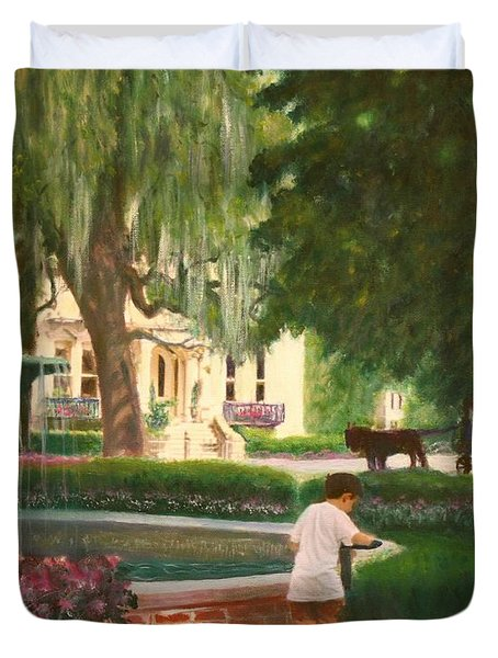 Old And Young Of Savannah Duvet Cover by Ben Kiger