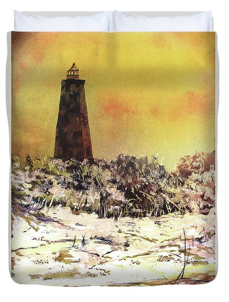 Duvet Cover featuring the painting Old Baldy Lighthouse- North Carolina by Ryan Fox