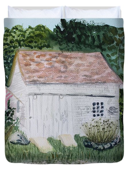 Duvet Cover featuring the painting Old Barn In Eastham Ma by Donna Walsh
