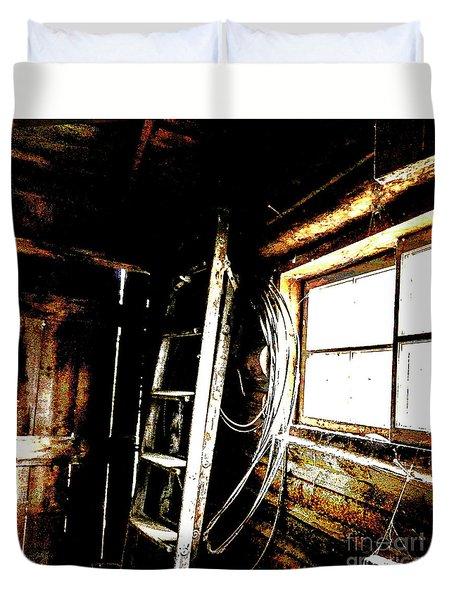 Old Barn Ladder Duvet Cover by Deborah Nakano