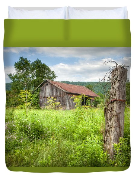Duvet Cover featuring the photograph Old Barn Near Stryker Rd. Rustic Landscape by Gary Heller
