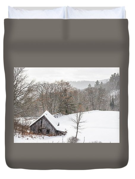 Old Barn On A Winter Day Wide View Duvet Cover