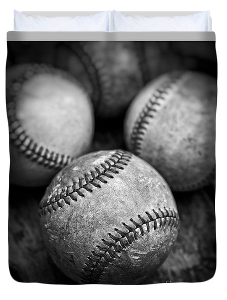 Duvet Cover featuring the photograph Old Baseballs In Black And White by Edward Fielding