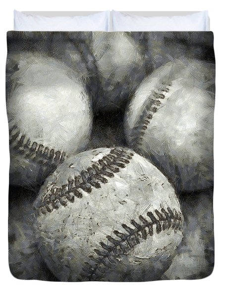 Old Baseballs Pencil Duvet Cover by Edward Fielding
