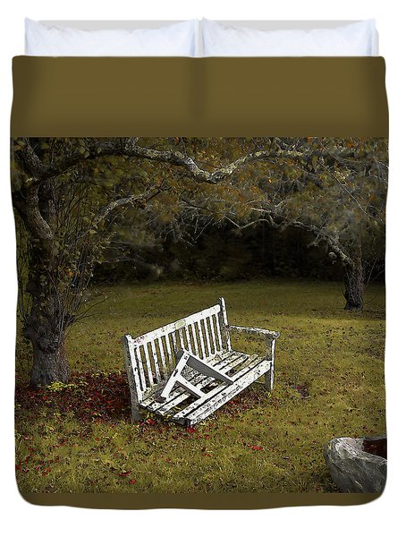 Old Benches Duvet Cover