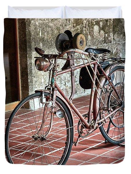 Duvet Cover featuring the photograph Old Bicycle In The Monastery Of Santo Estevo De Ribas Del Sil by Eduardo Jose Accorinti