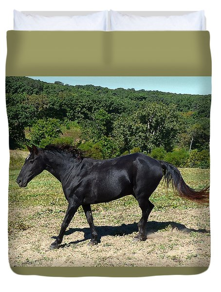 Duvet Cover featuring the digital art Old Black Horse Running by Jana Russon