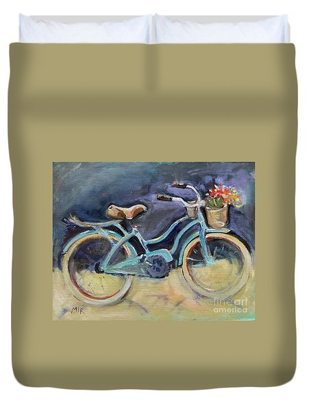 Old Blue Bicycle  Duvet Cover