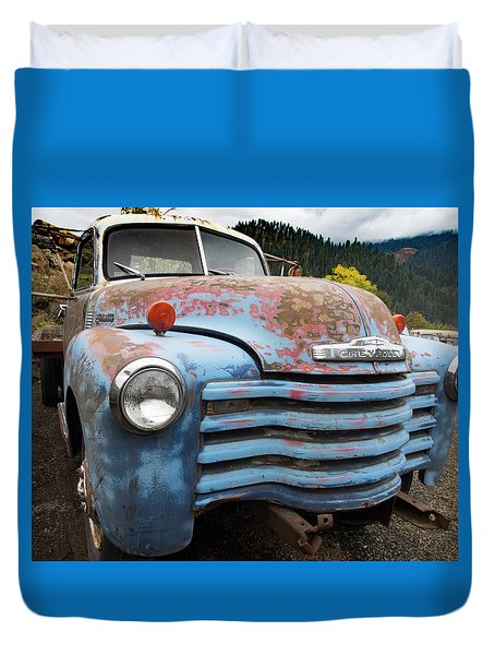 Old Blue Chevy Duvet Cover