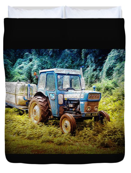 Old Blue Ford Tractor Duvet Cover by John Williams