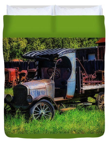 Old Blue Ford Truck Duvet Cover by Garry Gay