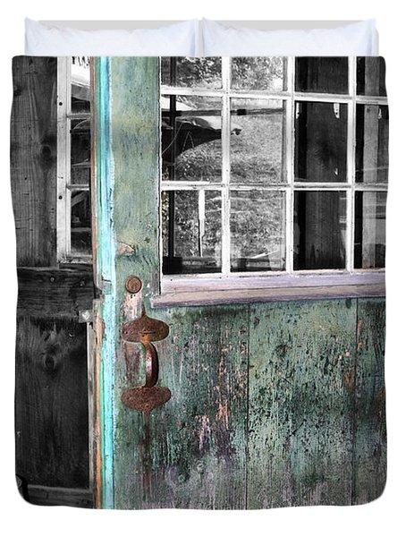 Rustic Blue - Green Door  Duvet Cover