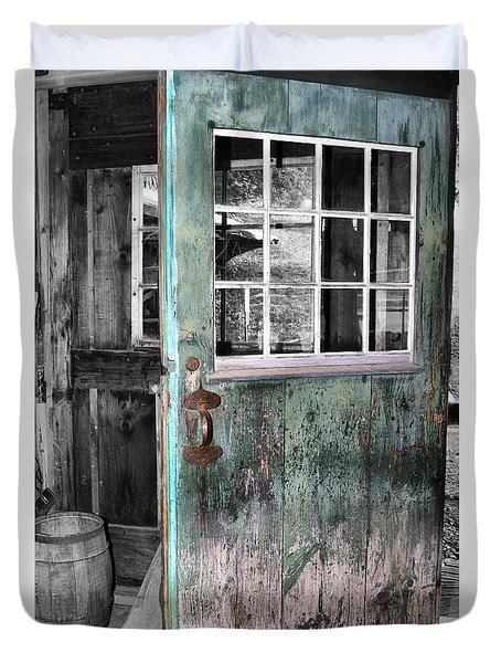 Rustic Blue - Green Door  Duvet Cover by Betty  Pauwels
