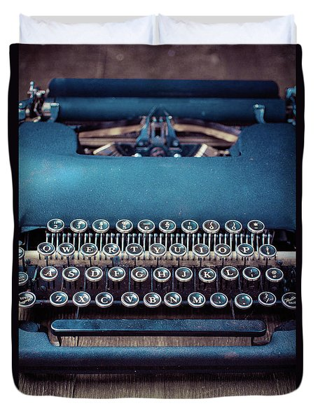 Duvet Cover featuring the photograph Old Blue Typewriter by Edward Fielding