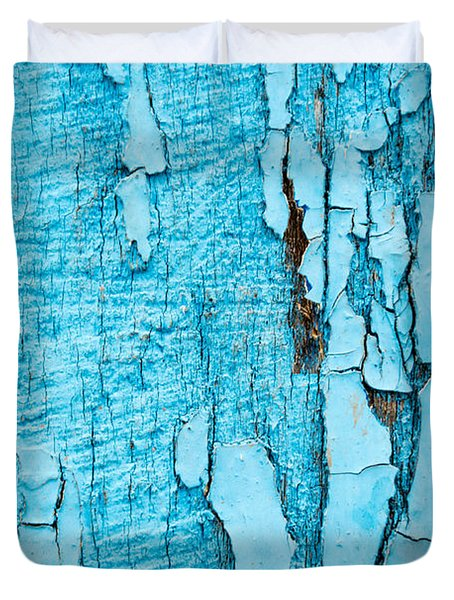 Duvet Cover featuring the photograph Old Blue Wood by John Williams