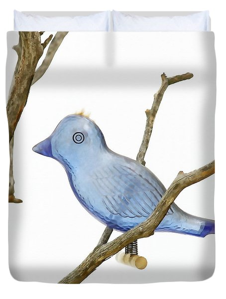 Duvet Cover featuring the photograph Old Bluebird Ornament by Art Block Collections