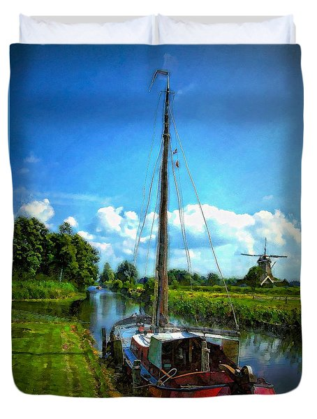 Duvet Cover featuring the photograph Old Boat In Holland by John  Kolenberg