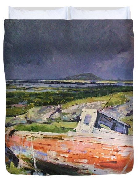 Old Boat On Shore Duvet Cover by Conor McGuire