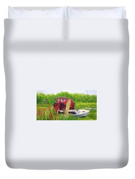 old boats in Belford Duvet Cover