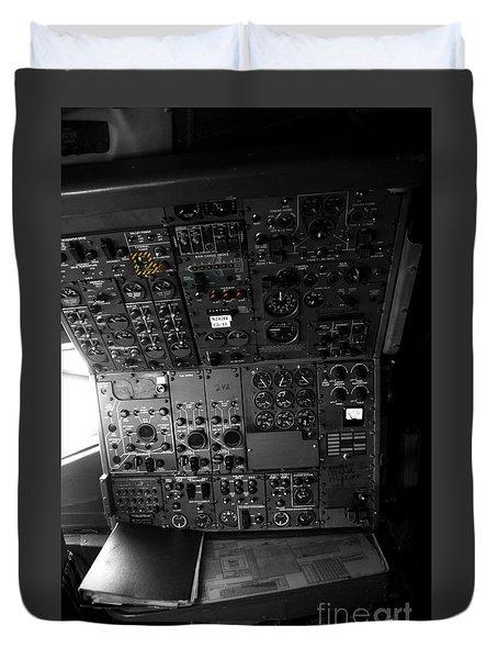 Old Boeing 727 Cockpit Duvet Cover