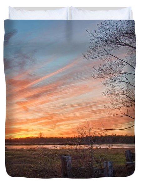 Old Bog Sunset Duvet Cover