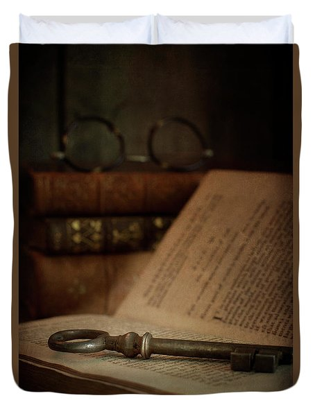 Old Book With Key Duvet Cover