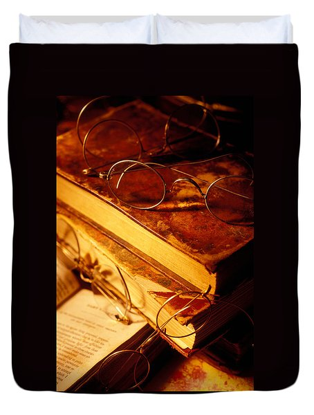 Old Books And Glasses Duvet Cover by Garry Gay