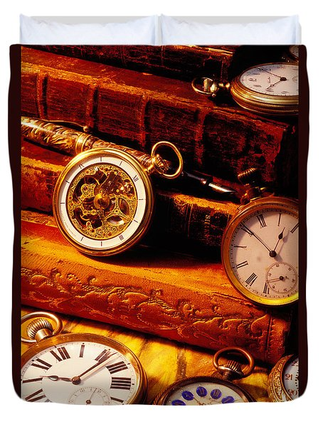 Old Books And Pocket Watches Duvet Cover by Garry Gay