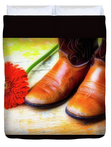 Old Boots And Daisy Duvet Cover by Garry Gay