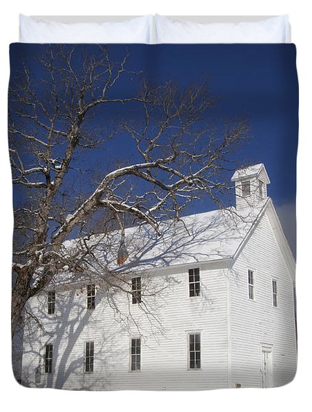 Old Boxley Community Building And Church In Winter Duvet Cover by Michael Dougherty