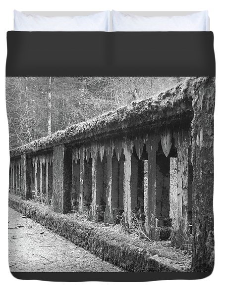 Old Bridge In Black And White Duvet Cover by Angi Parks