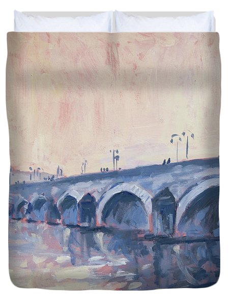 Old Bridge Of Maastricht In Warm Diffuse Autumn Light Duvet Cover by Nop Briex
