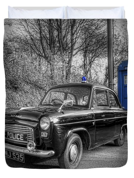 Old British Police Car And Tardis Duvet Cover by Yhun Suarez