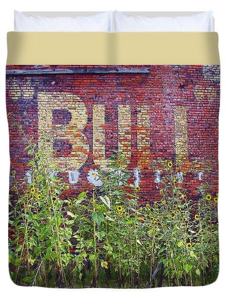 Old Bull Durham Sign - Delta Duvet Cover by Rebecca Korpita