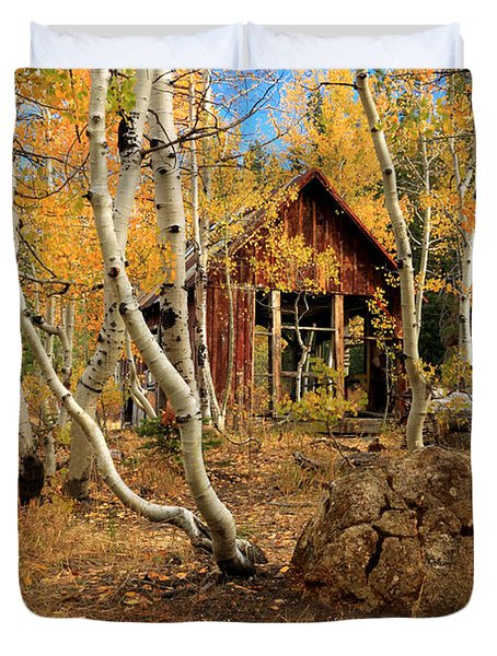 Old Cabin In The Aspens Duvet Cover by James Eddy