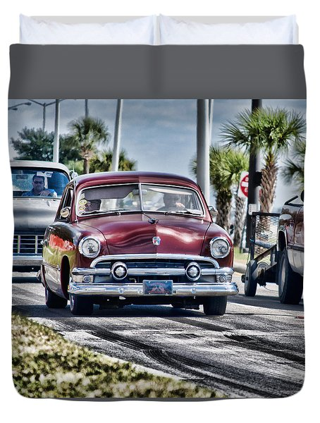 Old Car 1 Duvet Cover by Cathy Jourdan