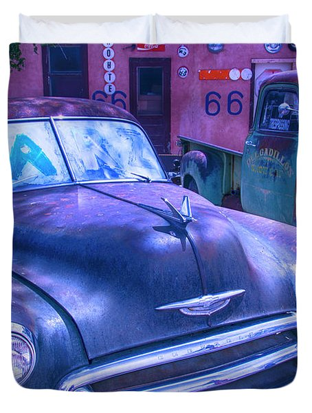 Old Car And Pickup Route 66 Duvet Cover