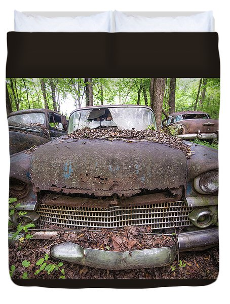 Old Car City In Color Duvet Cover