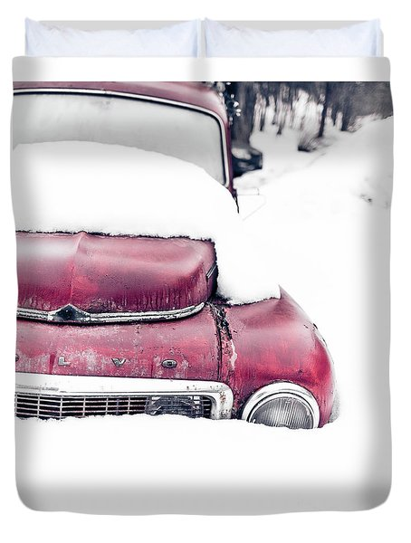 Old Car In A Snow Bank Duvet Cover