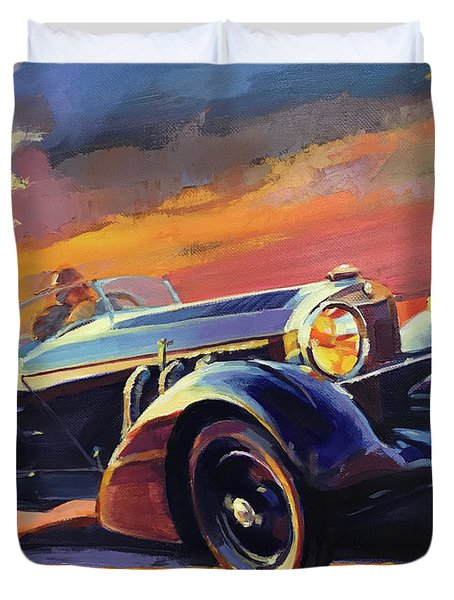 Old Car Racing Duvet Cover