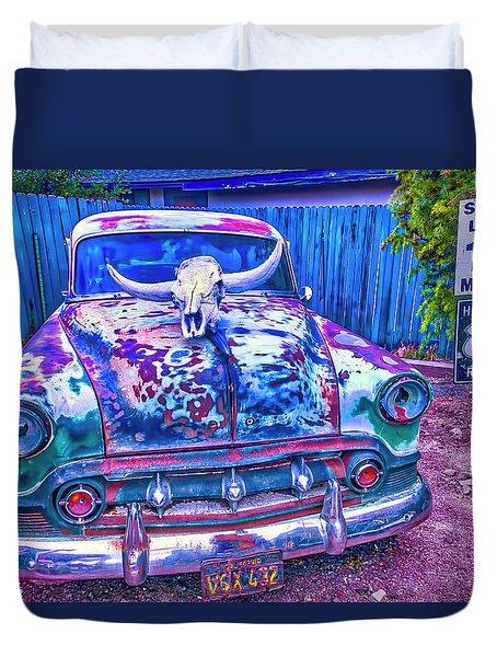 Old Car With Steer Skull Duvet Cover