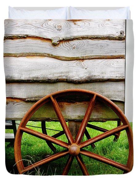 Old Cart Wheel Duvet Cover