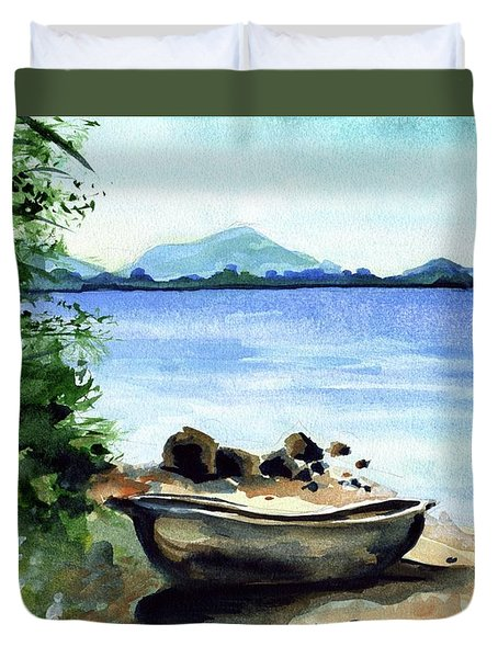 Duvet Cover featuring the painting Old Carved Boat At Lake Malawi by Dora Hathazi Mendes